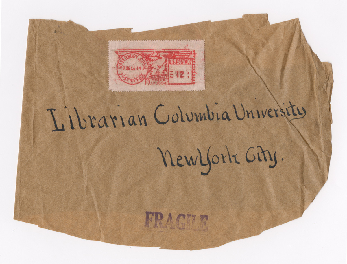 Letter from William Hodges to Columbia College Librarian. Envelope