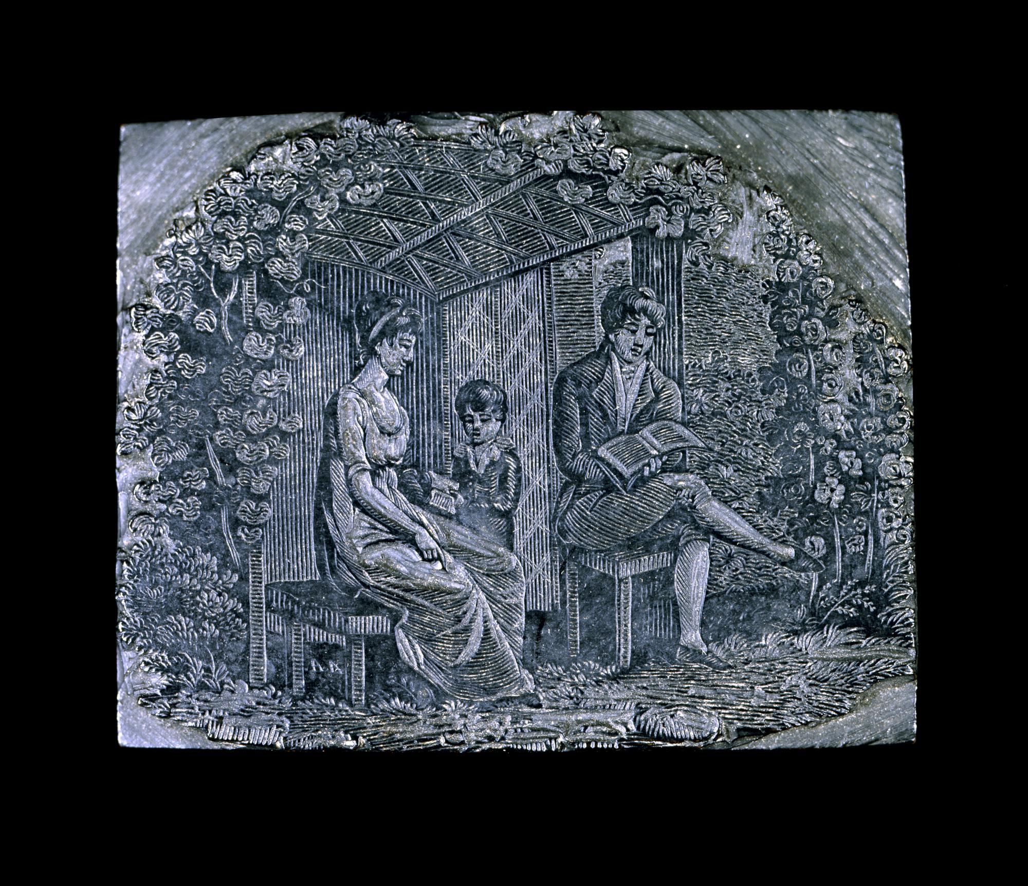 """Wood engraving of garden-house scene, signed in the block """"AA"""""""