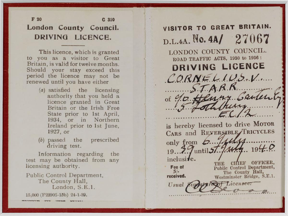 1940 British Driving License