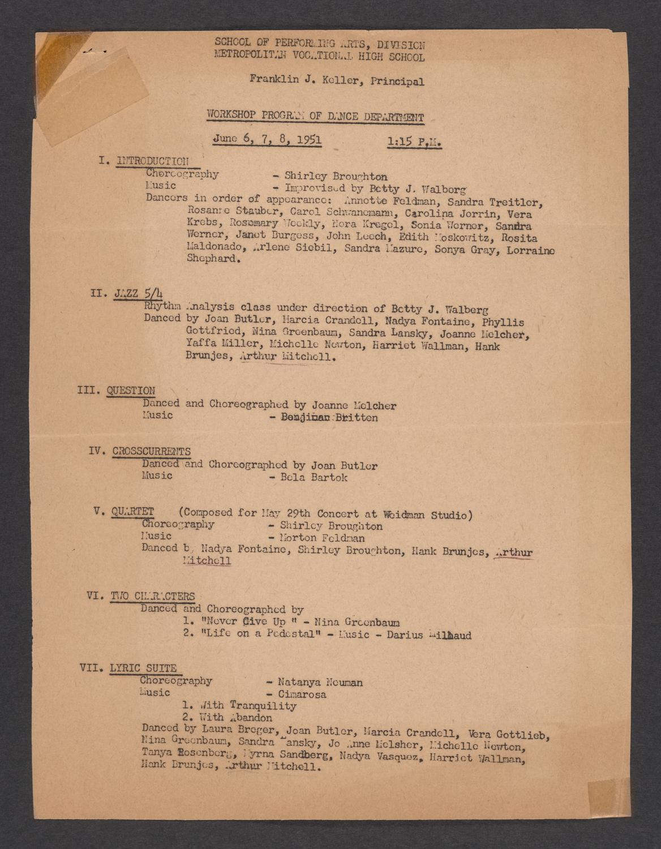 Workshop Program of Dance Department : Page [1]