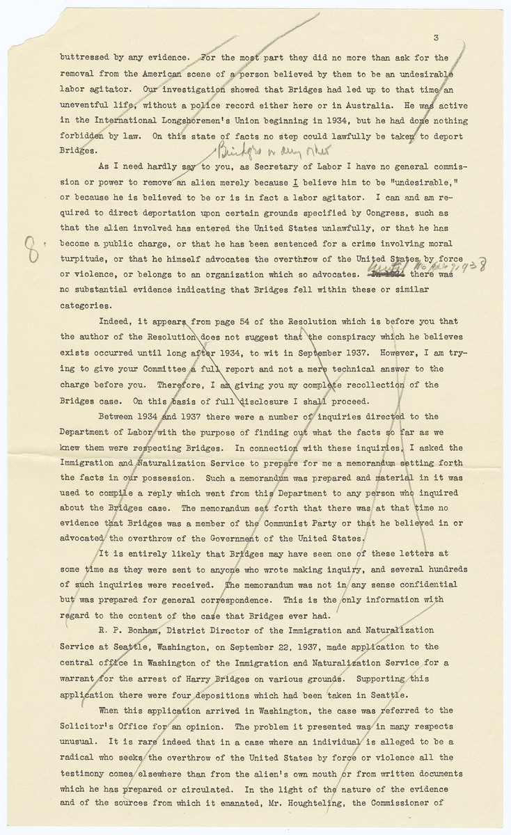 Statement before the House Judiciary Committee in reply to House Resolution 67, Impeachment of Frances Perkins, pages 1 to 3