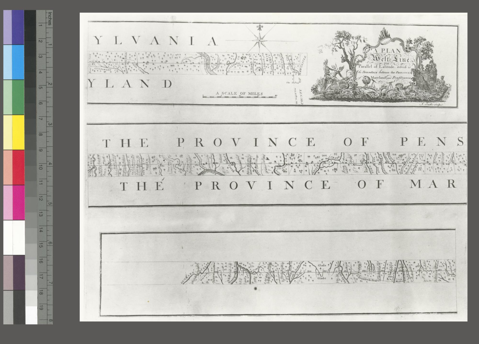 Plan of the boundary lines between the Province of Maryland and the three lower counties on the Delaware with part of the parallel of latitude which is the boundary between the provinces of Maryland and Pennsylvania