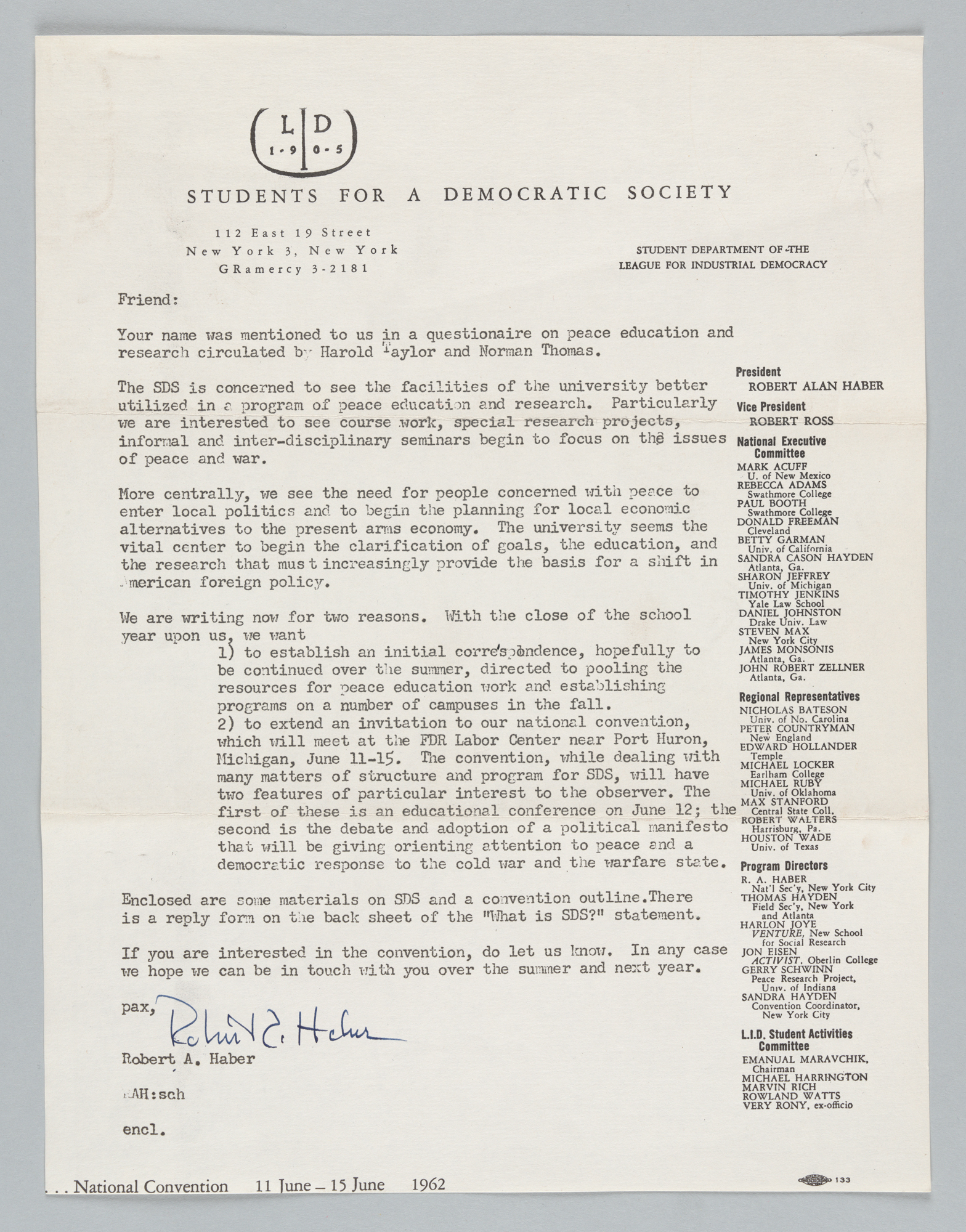 "Circular Letter from Robert ""Al"" Haber regarding SDS"