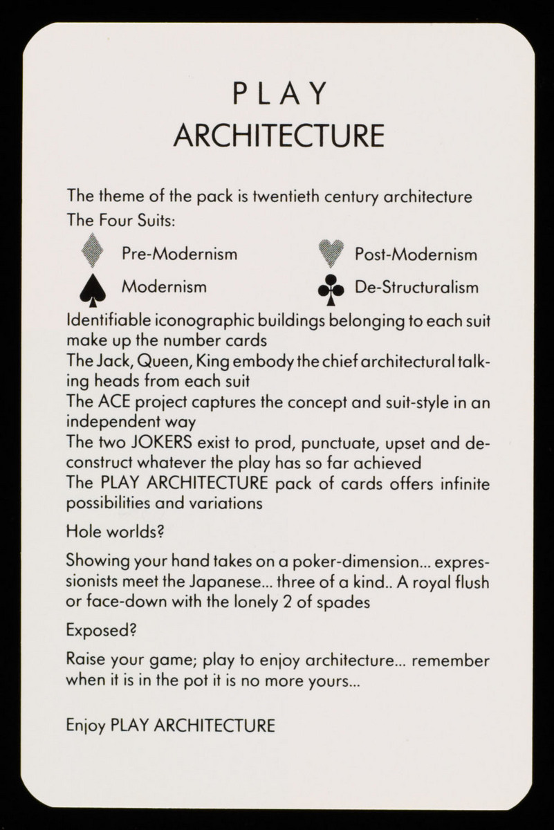 Play architecture. Reverse of title card (rules)