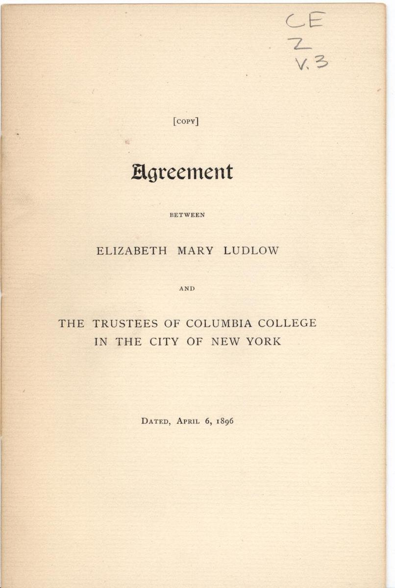 Agreement Between Elizabeth Mary Ludlow and The Trustees of Columbia College, cover