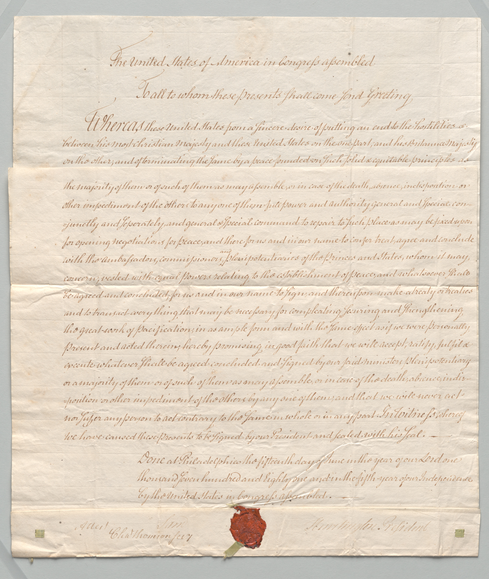 Continental Congress Declaration for Negotiations with Britain, front