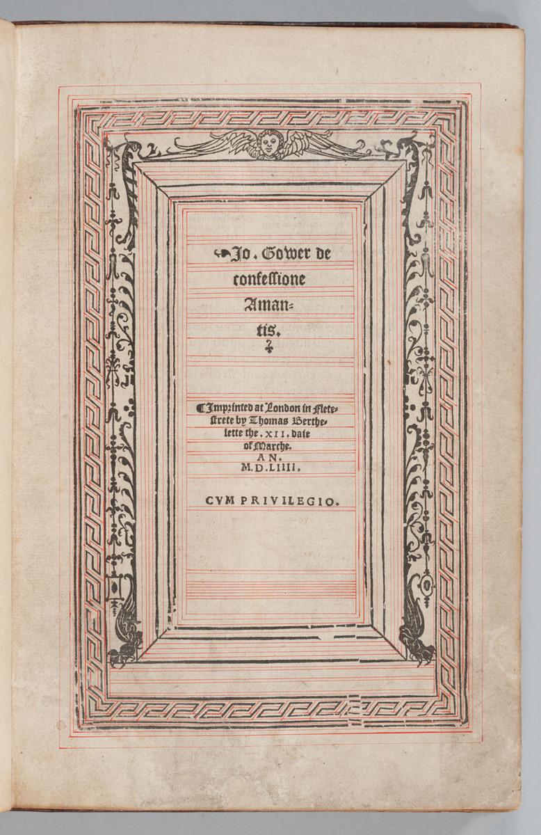 Confessio Amantis, Title page