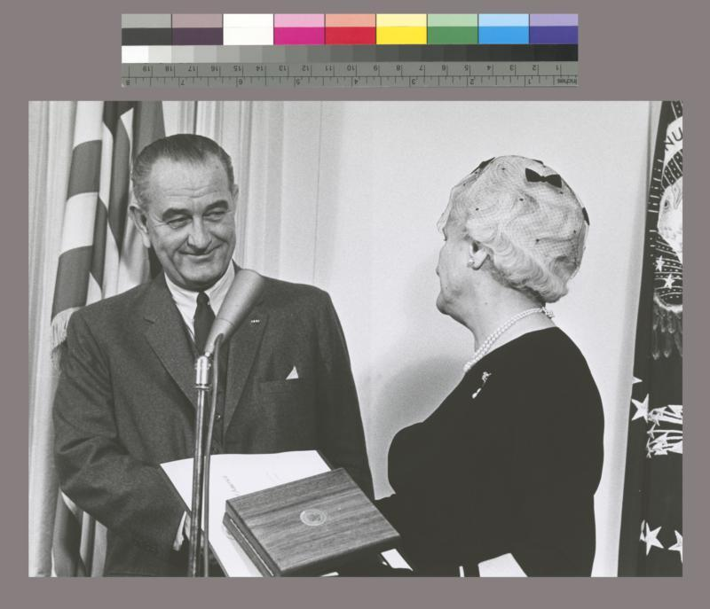 Photograph of President Johnson presenting the Medal of Freedom to Edith Altschul Lehman (Mrs. Herbert H. Lehman)