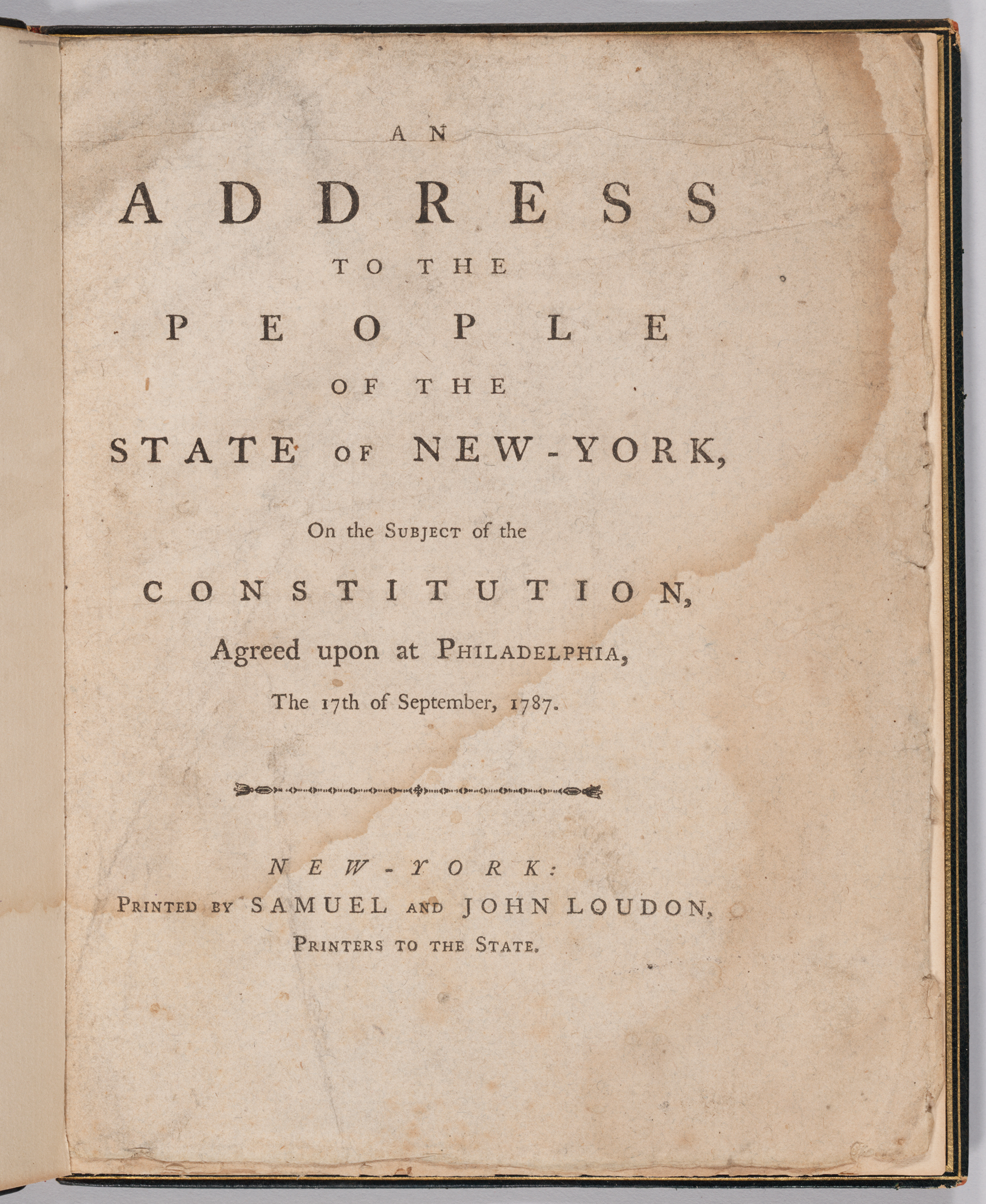 Address to the People of the State of New York on the Subject of the Constiitution, title page