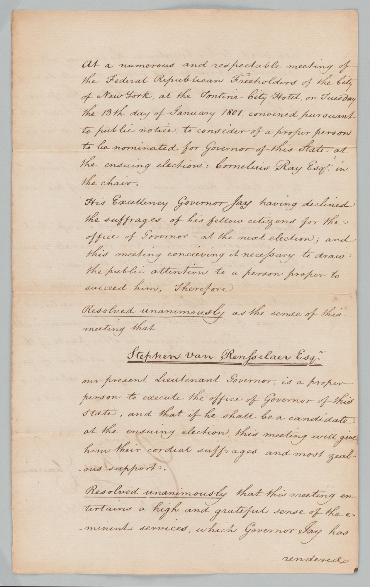 Resolutions of Federalist Freeholders of New York City, front