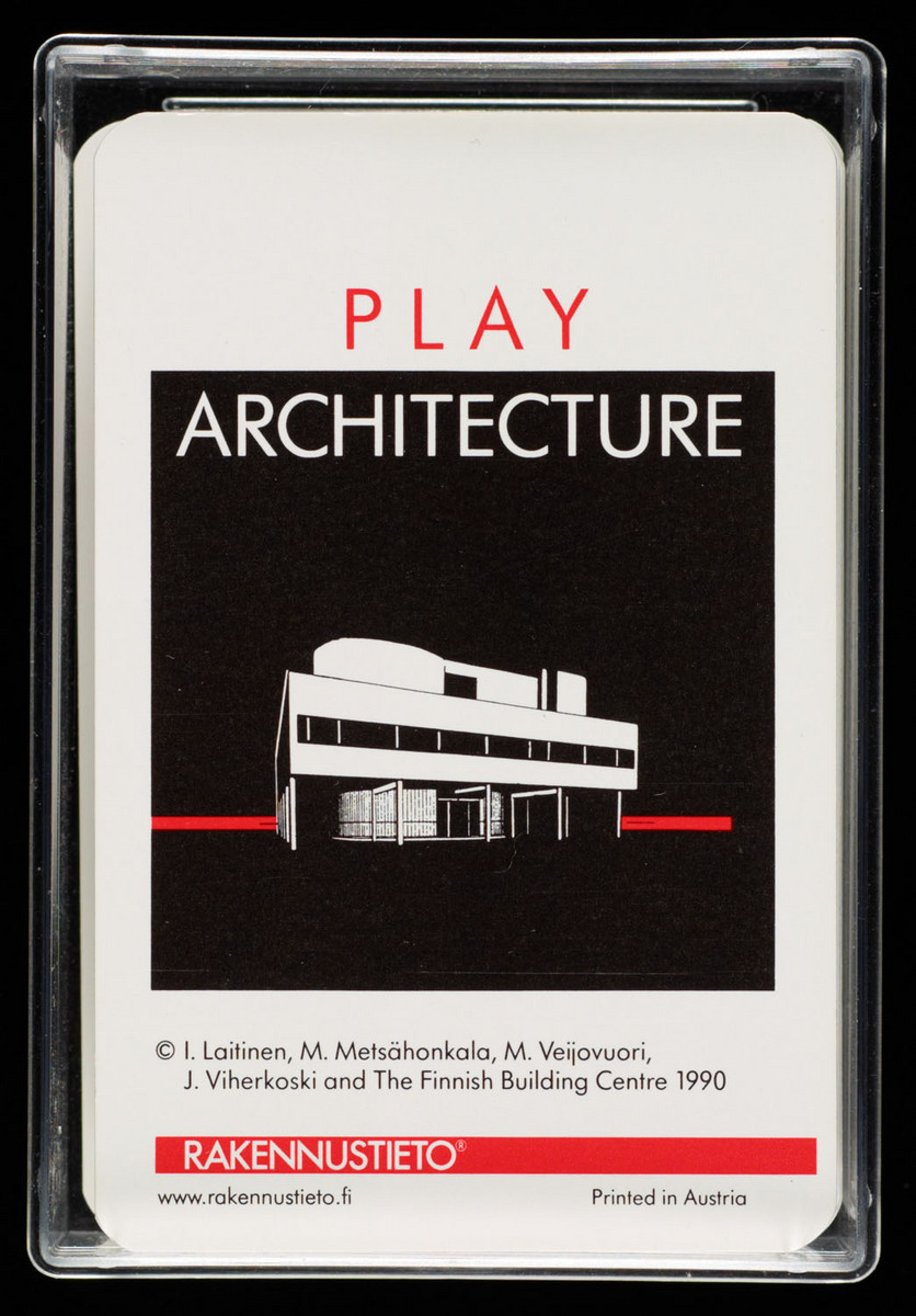 Play architecture. Image of cards in case with title card on top