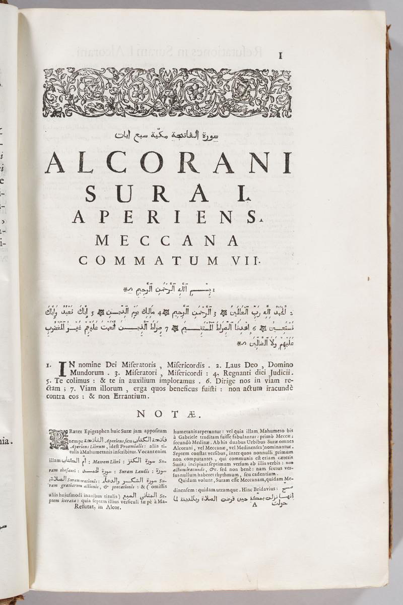 Alcorani textus universus ex correctioribus Arabum exemplaribus summa fide, atque pulcherrimis characteribus descriptus, volume 2, page I