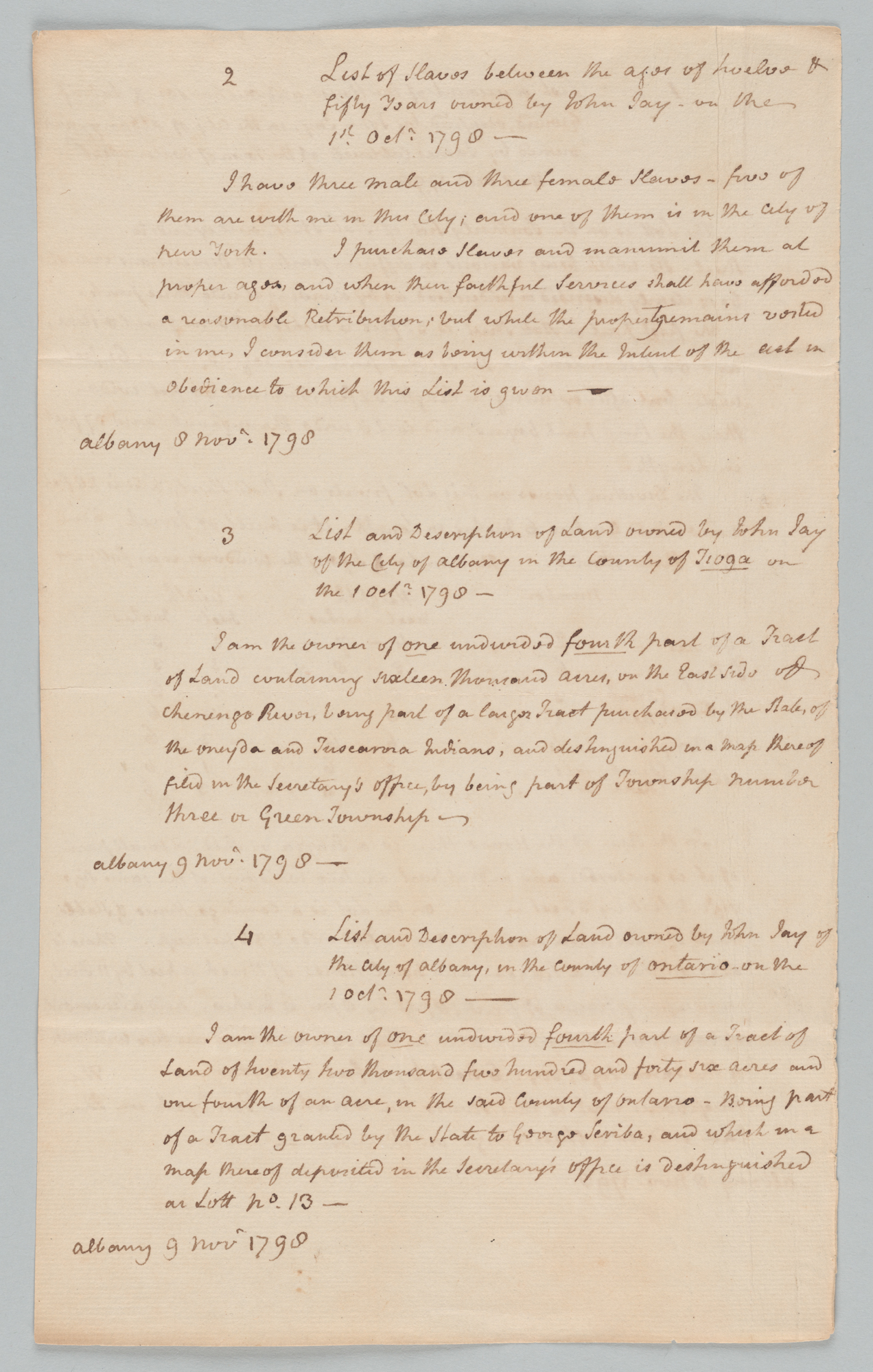 """Inventory of John Jay's Property, Page beninning """"2 List of Slaves"""""""