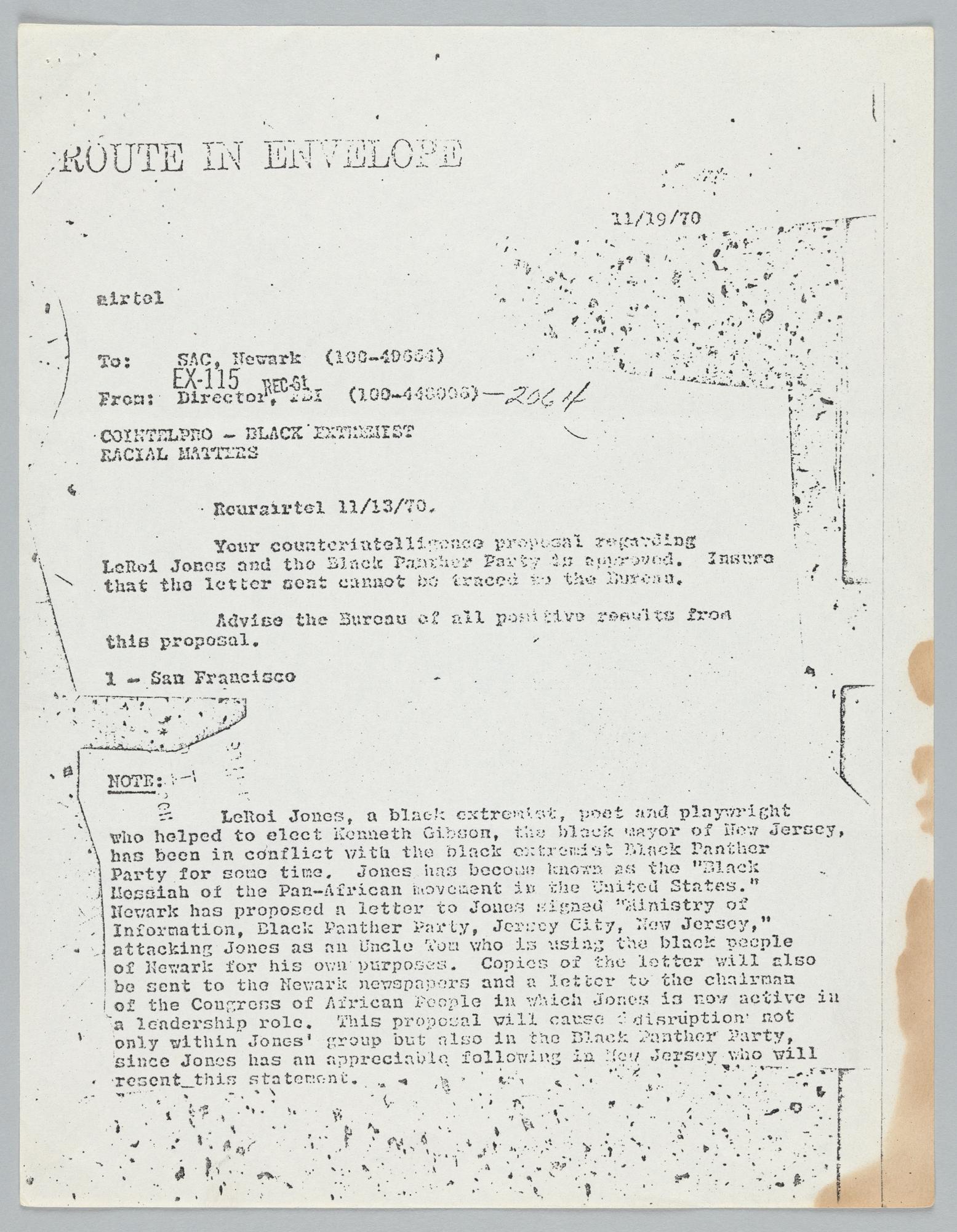 COINTELPRO memorandum