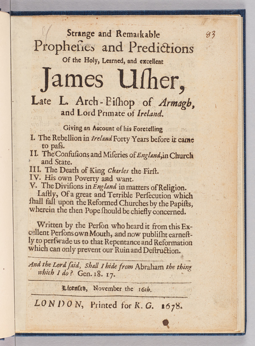 Strange and remarkable prophesies and predictions of the holy, learned, and excellent James Usher.  Title page