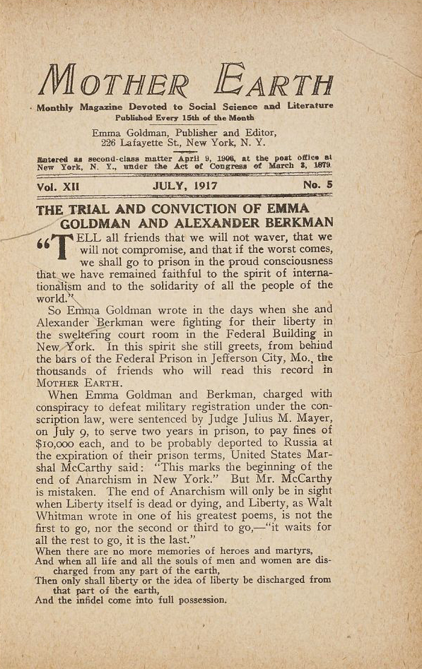 Trial and Conviction of Emma Goldman and Alexander Berkman, pages 129 to 133, 161 to 163