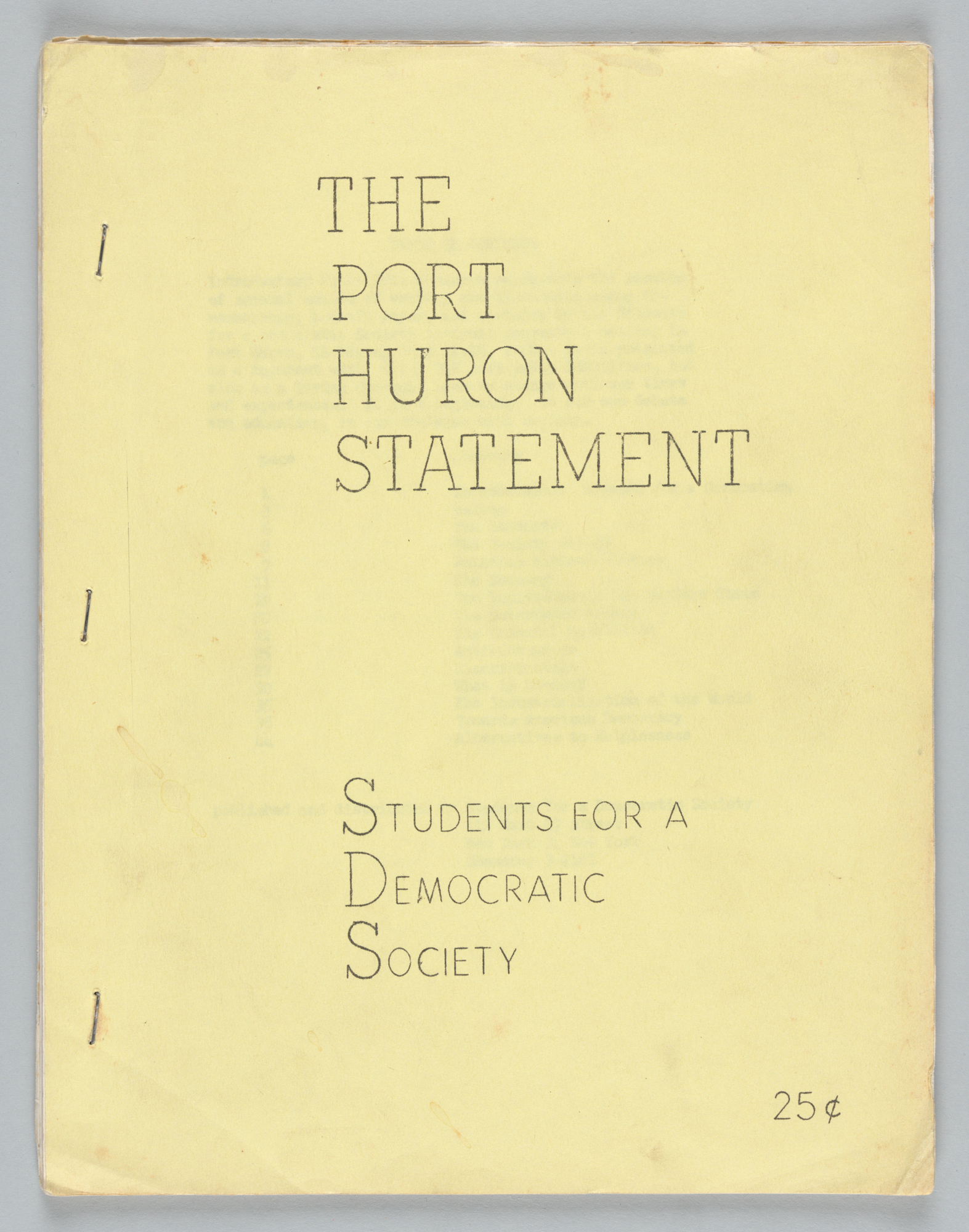 The Port Huron Statement, Front Cover
