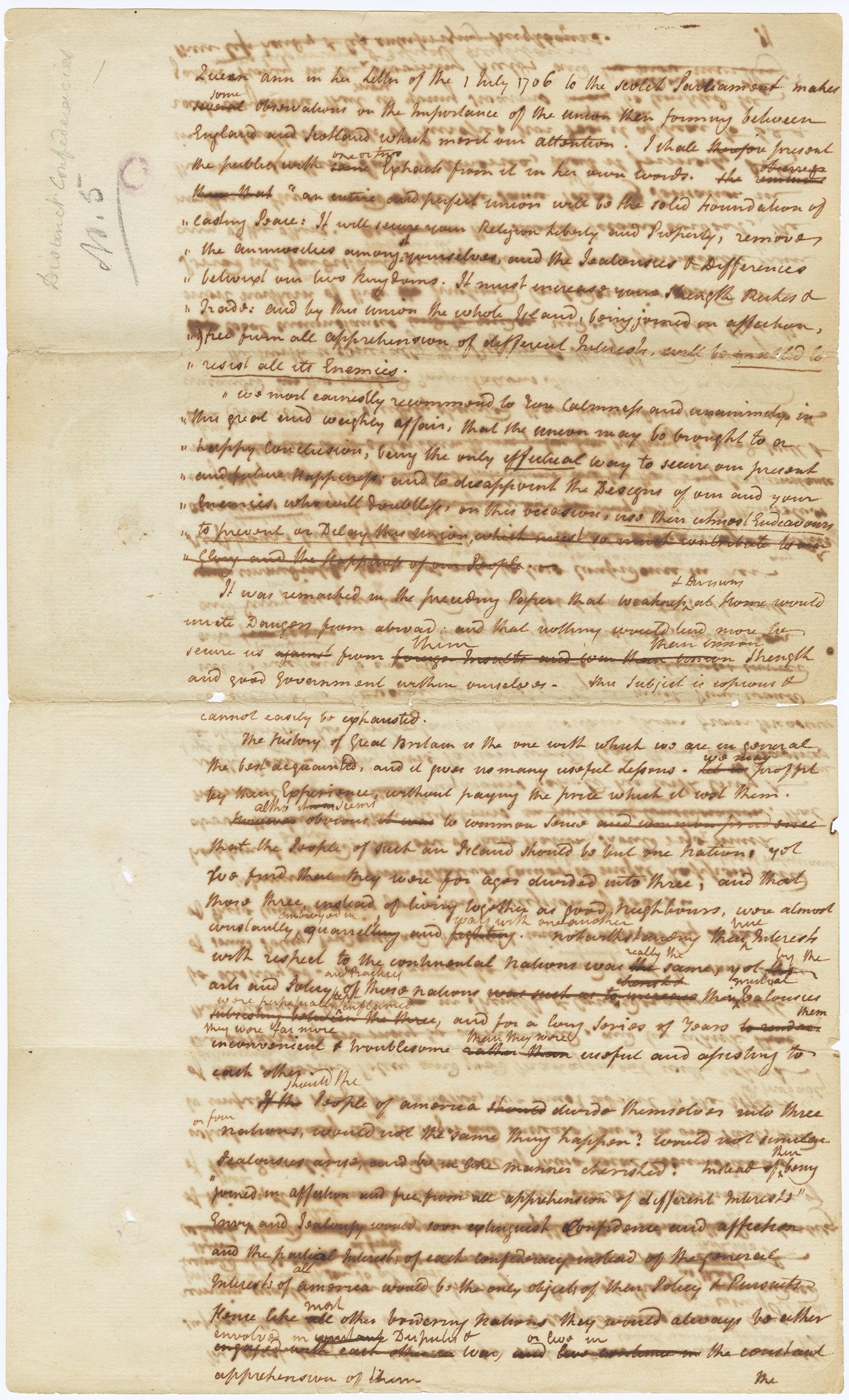 """Draft of The Federalist 5, front """"Queen Anne in her letter"""""""