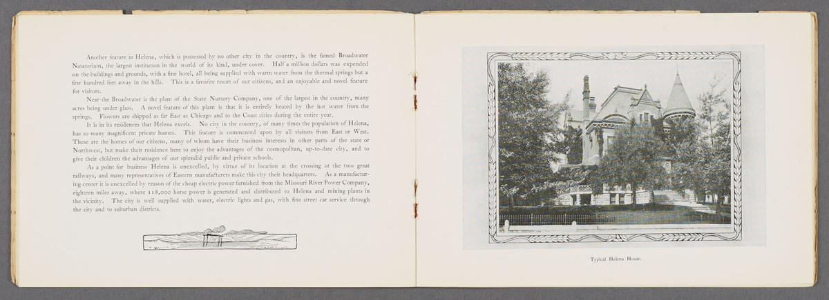 Helena, Montana. Page spread showing text of and an image of a Typical Helena House.