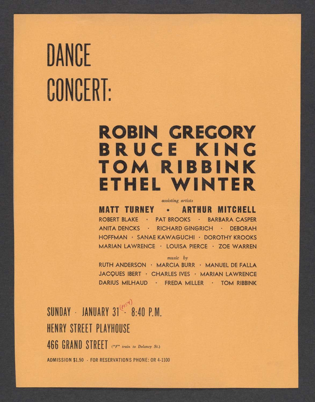 Dance Concert: Robin Gregory, Bruce King, Tom Ribbink, Ethel Winter : Cover