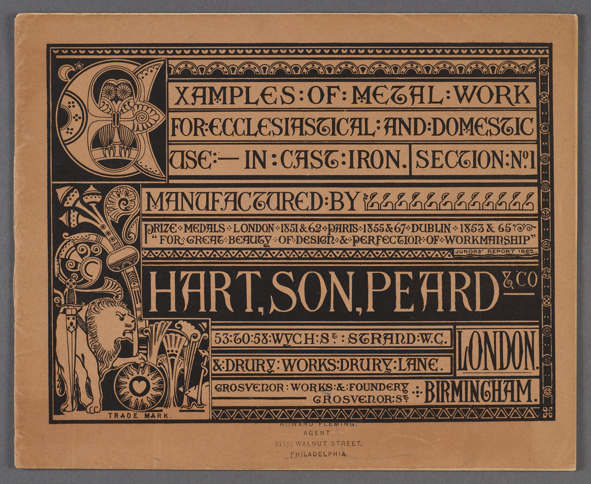 Examples of metal work for ecclesiastical and domestic use : manufactured by Hart, Son, Peard & Co. Cover