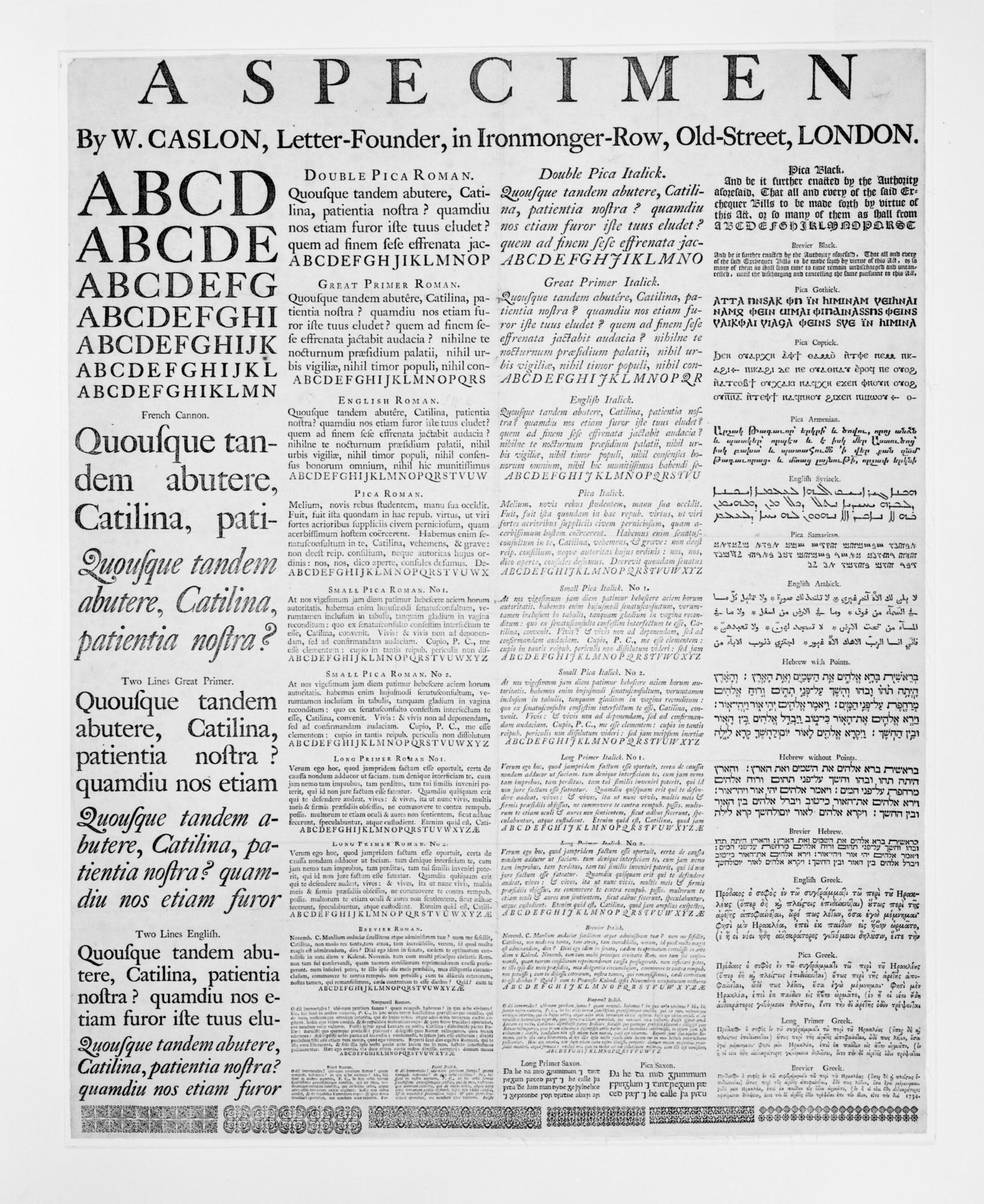 Specimen by W. Caslon, Letter-Founder, Ironmonger-Row, Old-Street, London