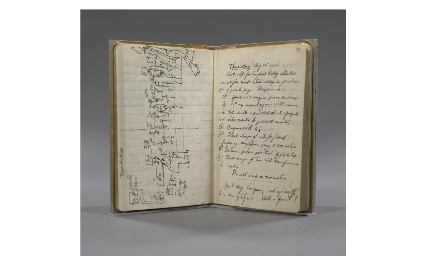 Laboratory notebook, recording Edwin H. Armstrong's discovery of superheterodyne reception