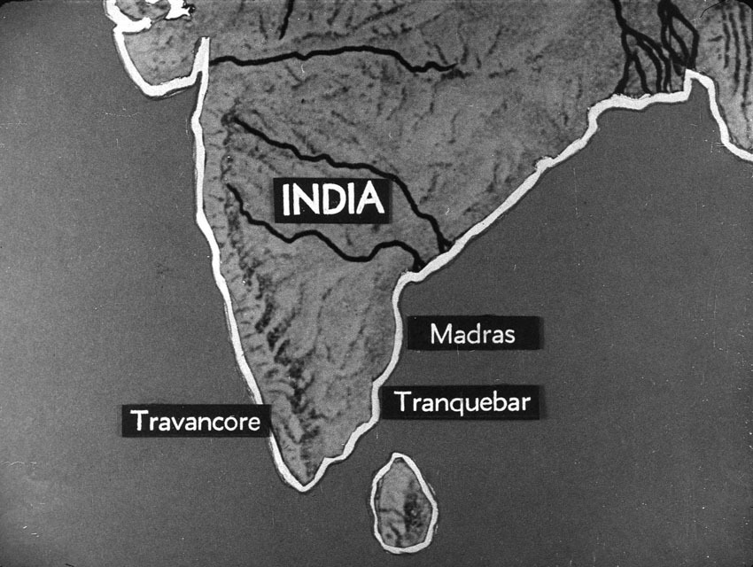 Church of South India is Born. Scene 14: map of South India