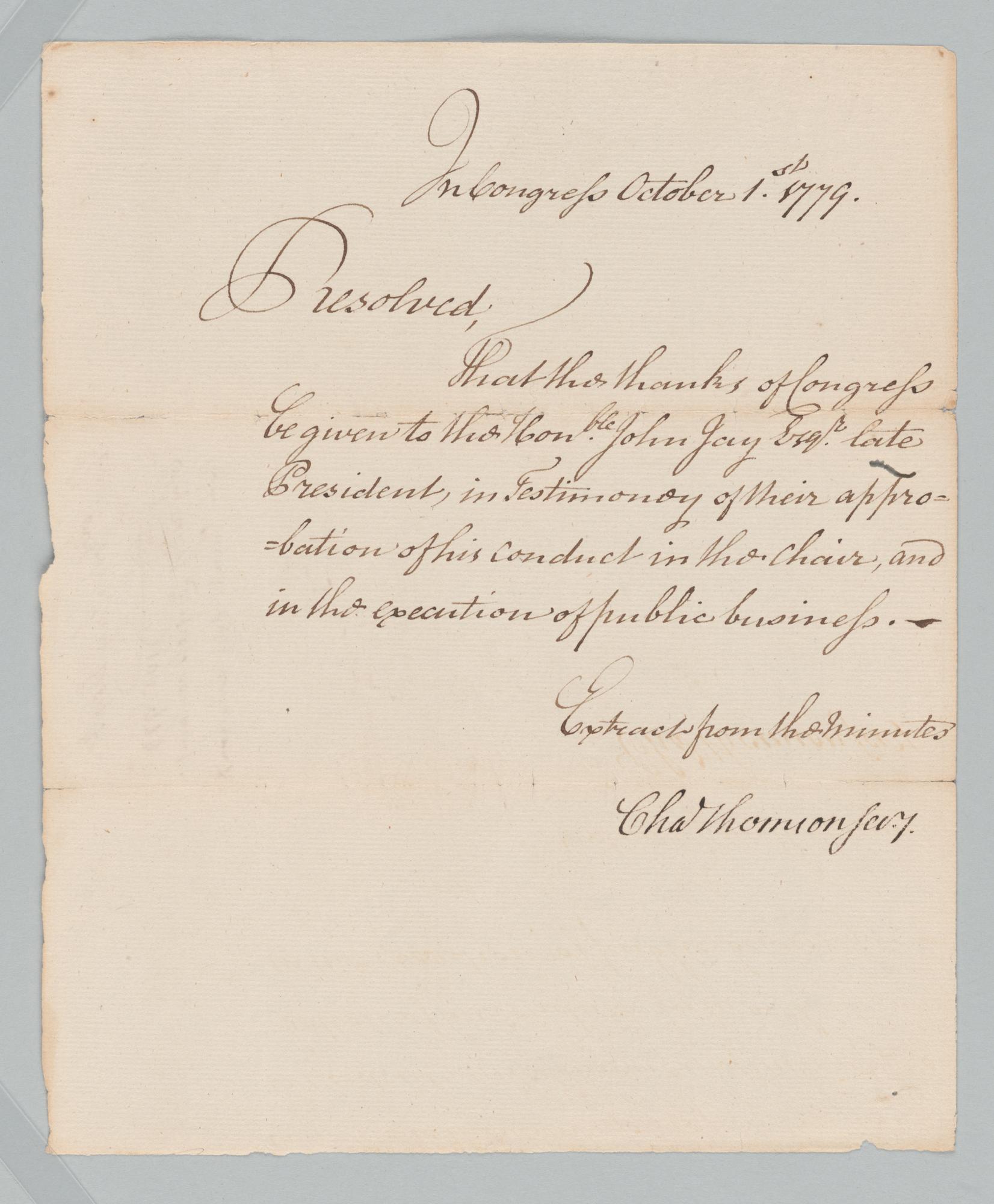 Continental Congress to John Jay, front