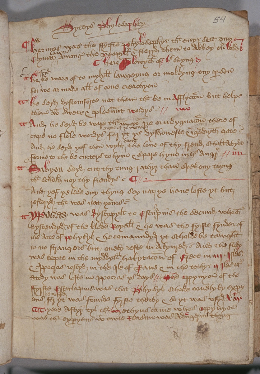 Fifteenth-Century Commonplace Book, Folio 54r