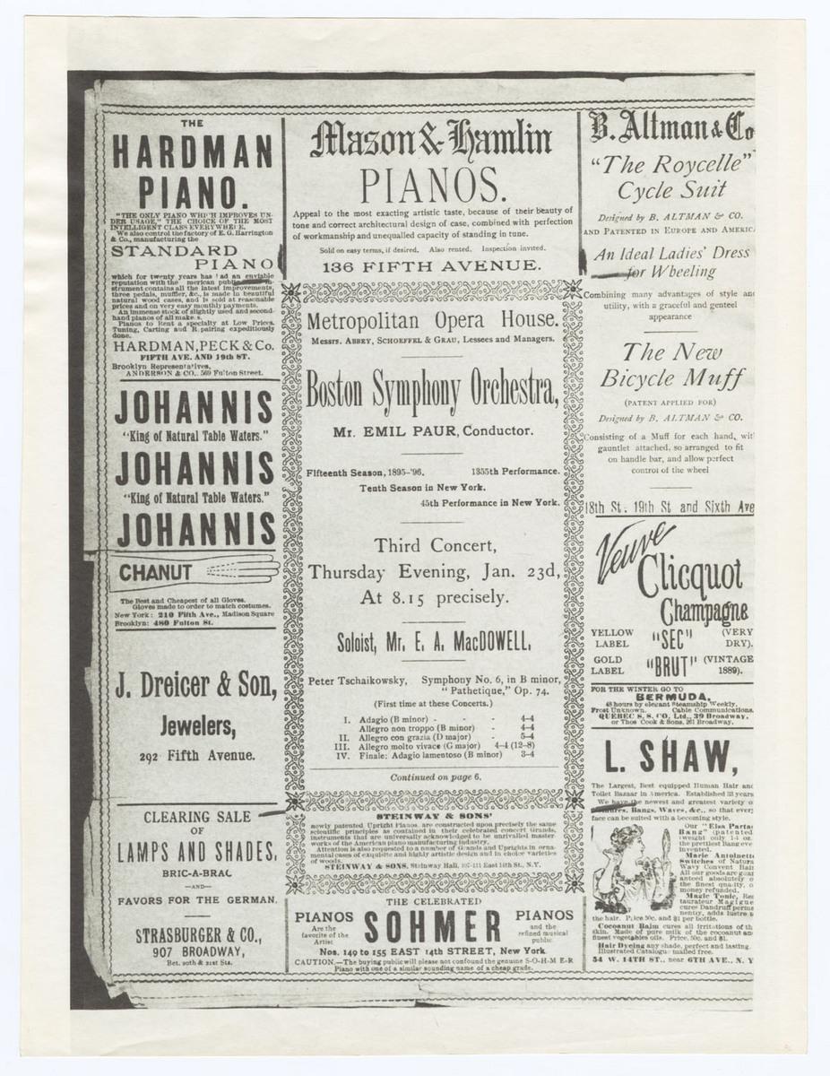 Program, concert at the Metropolitan Opera House