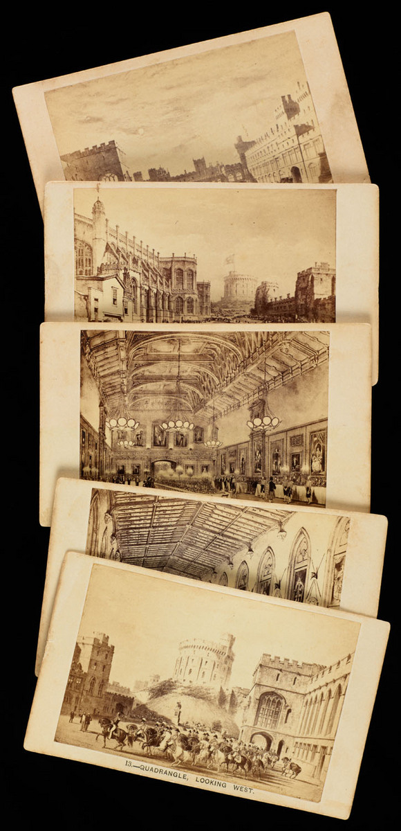 Views of the interior and exterior of Windsor Castle : forming a supplemental volume to the Mansions of England. View with cards fanned out
