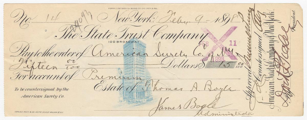 American Surety Company, bill or receipt