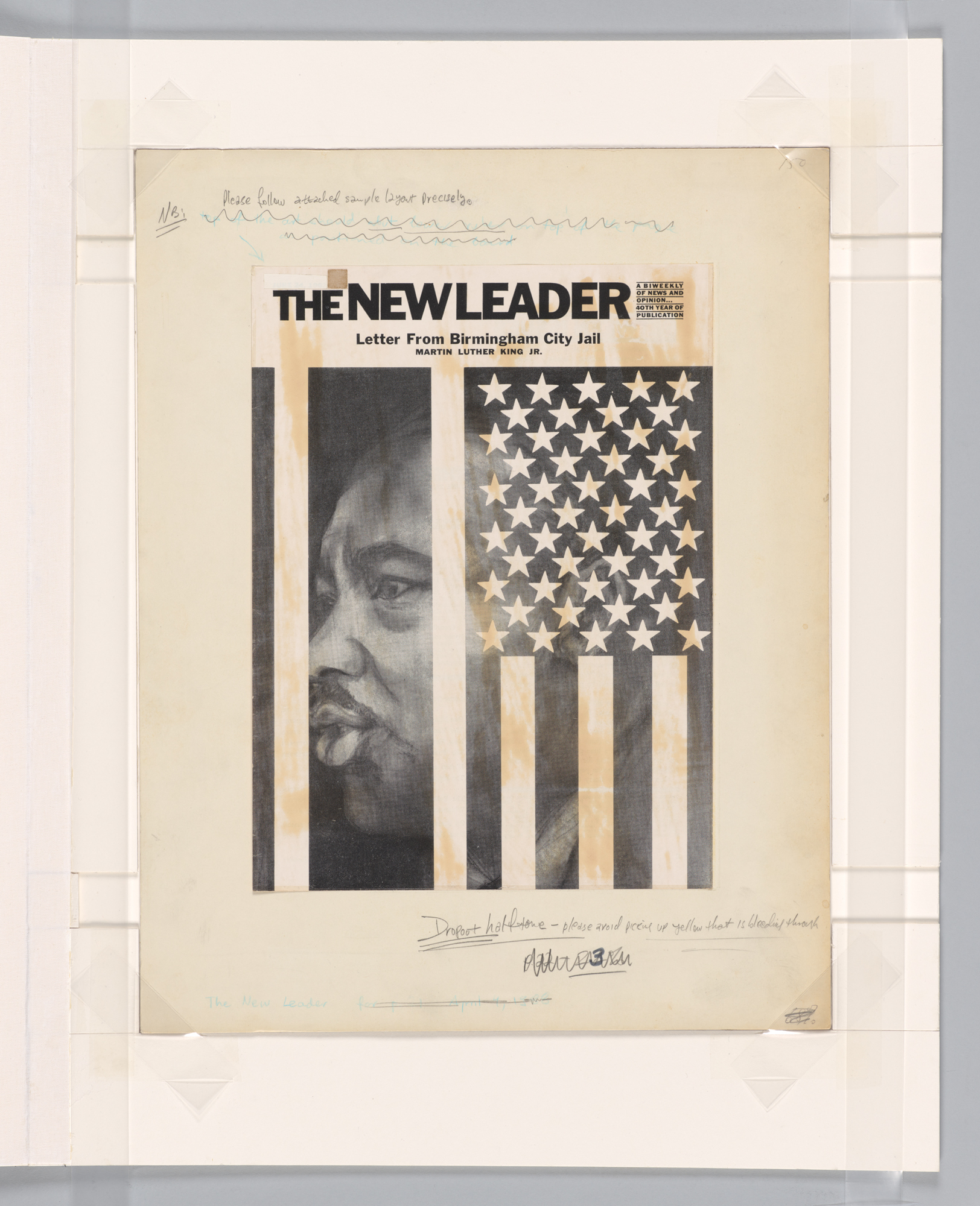 The New Leader, Cover Design, Letter From Birmingham City Jail