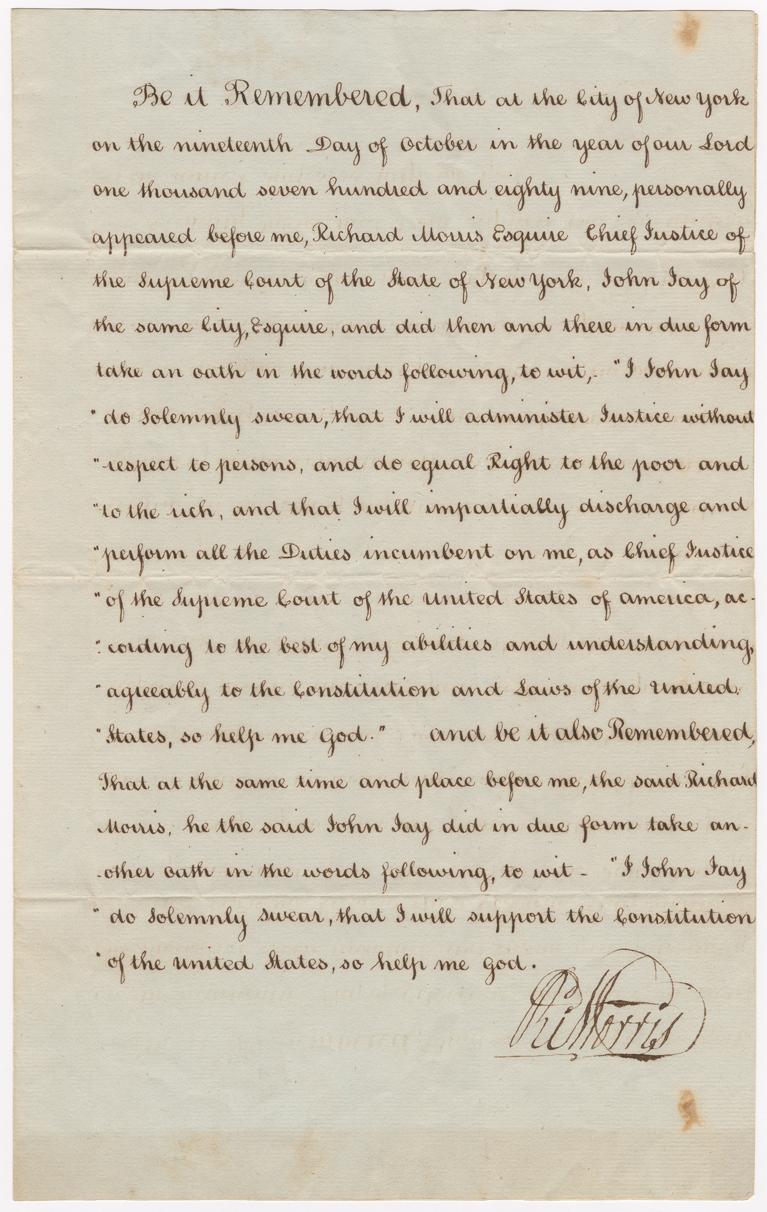 John Jay's Oath as Chief Justice of the Supreme Court, attested to by Richard Morris, front