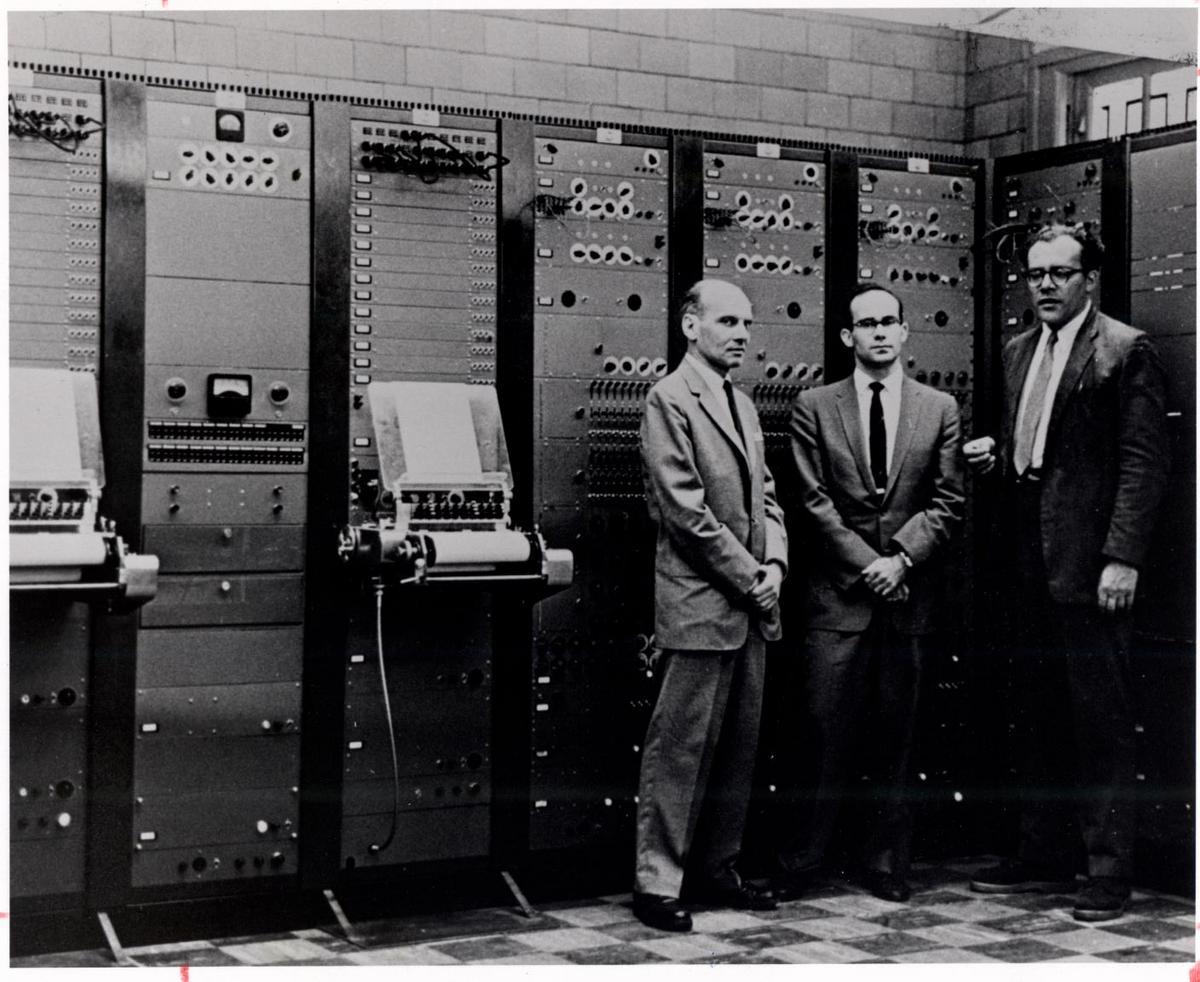 Milton Babbitt, Peter Mauzey, and Vladimir Ussachevsky with the RCA Mark II Synthesizer