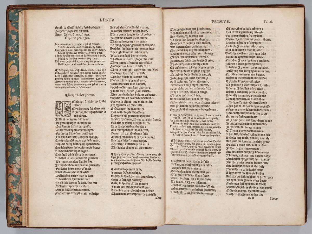 Confessio Amantis, 7v-8r (B1v-B2r)