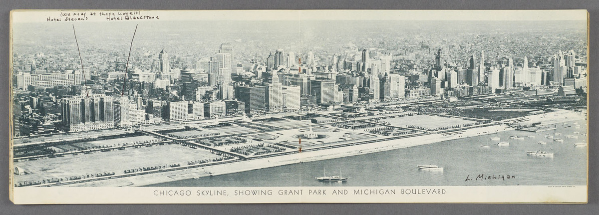 Chicago, the city beautiful. Chicago skyline, showing Grant Park and Michigan Boulevard