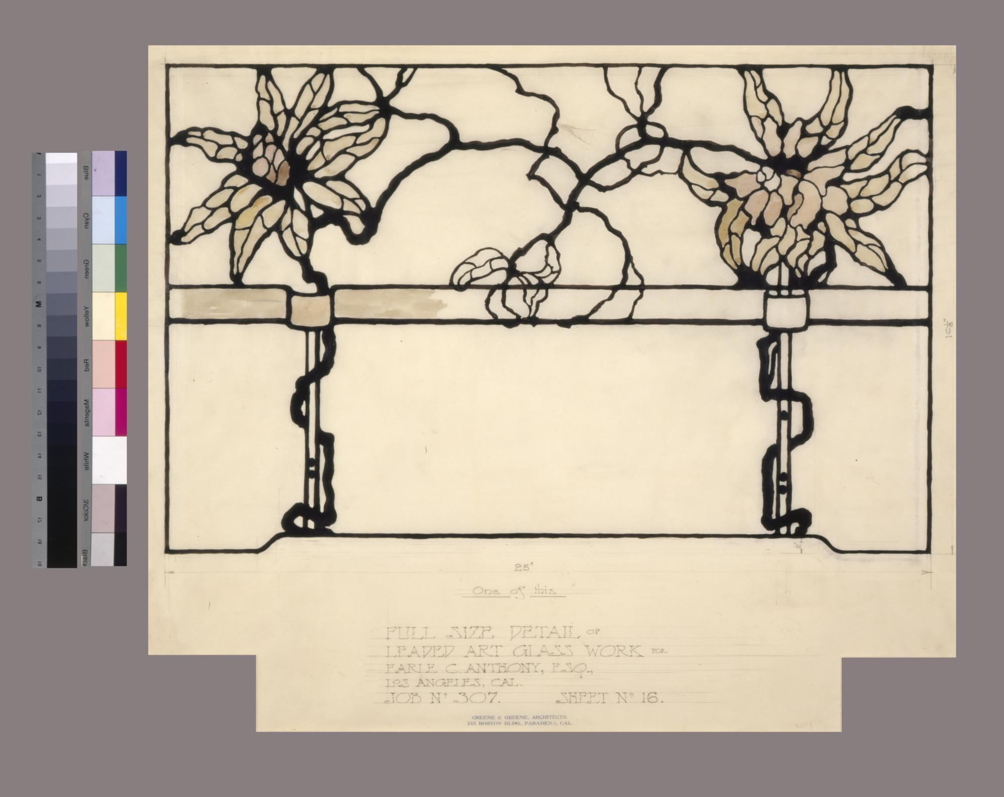 Detail drawing of decorative window, Earle C. Anthony House, Los Angeles