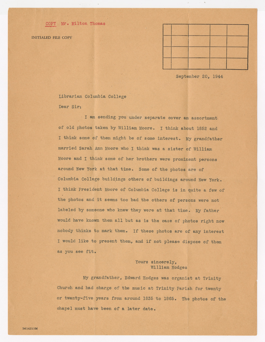 Letter from William Hodges to Columbia College Librarian. Typed Copy