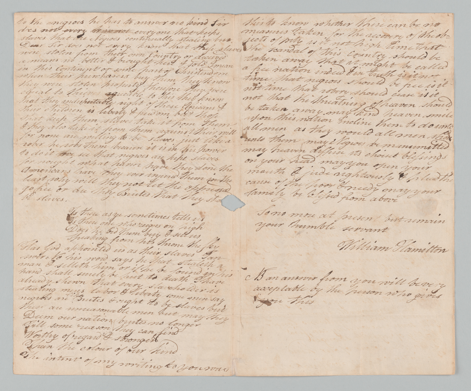 William Hamilton to John Jay, pages 2-3 (middle pages)/single sheet