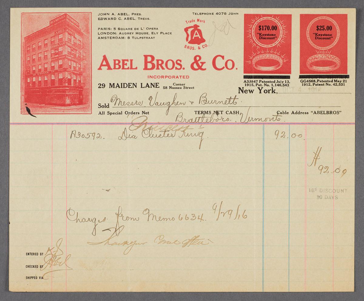 Abel Bros. & Co., 29 Maiden Lane. Recto of bill/receipt