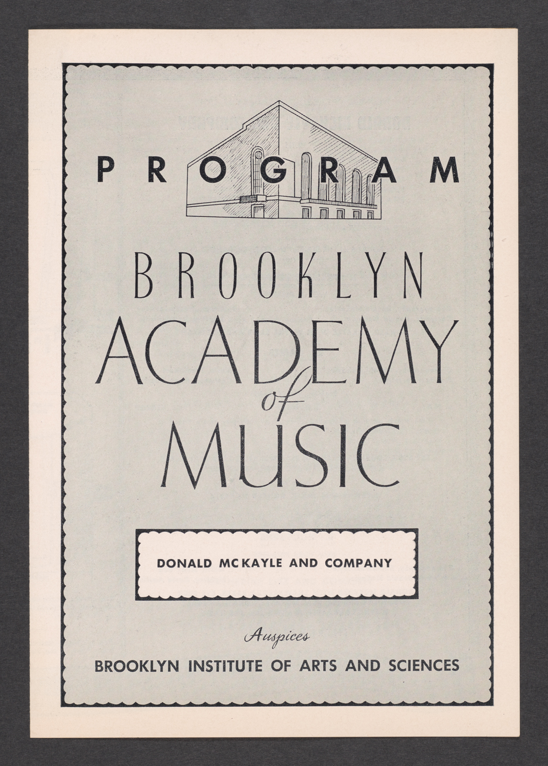 Donald McKayle and Company at Brooklyn Academy of Music : Cover
