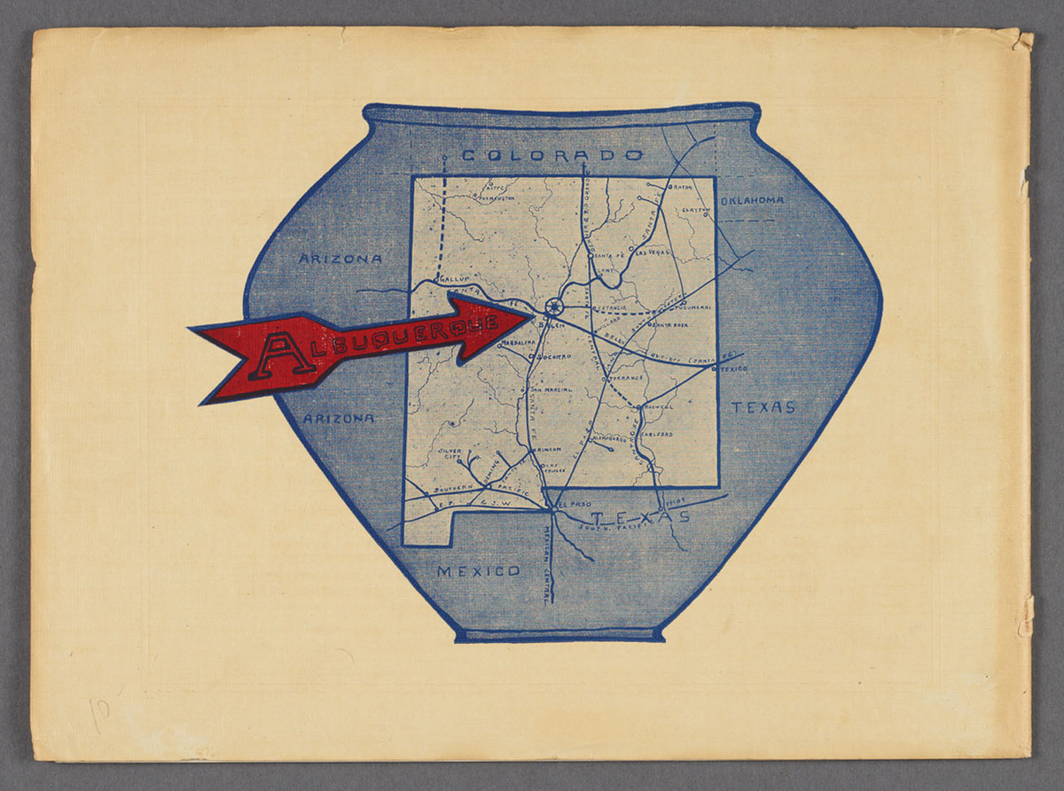 Albuquerque, New Mexico : chief city of a new empire in the great Southwest. Verso cover of viewbook