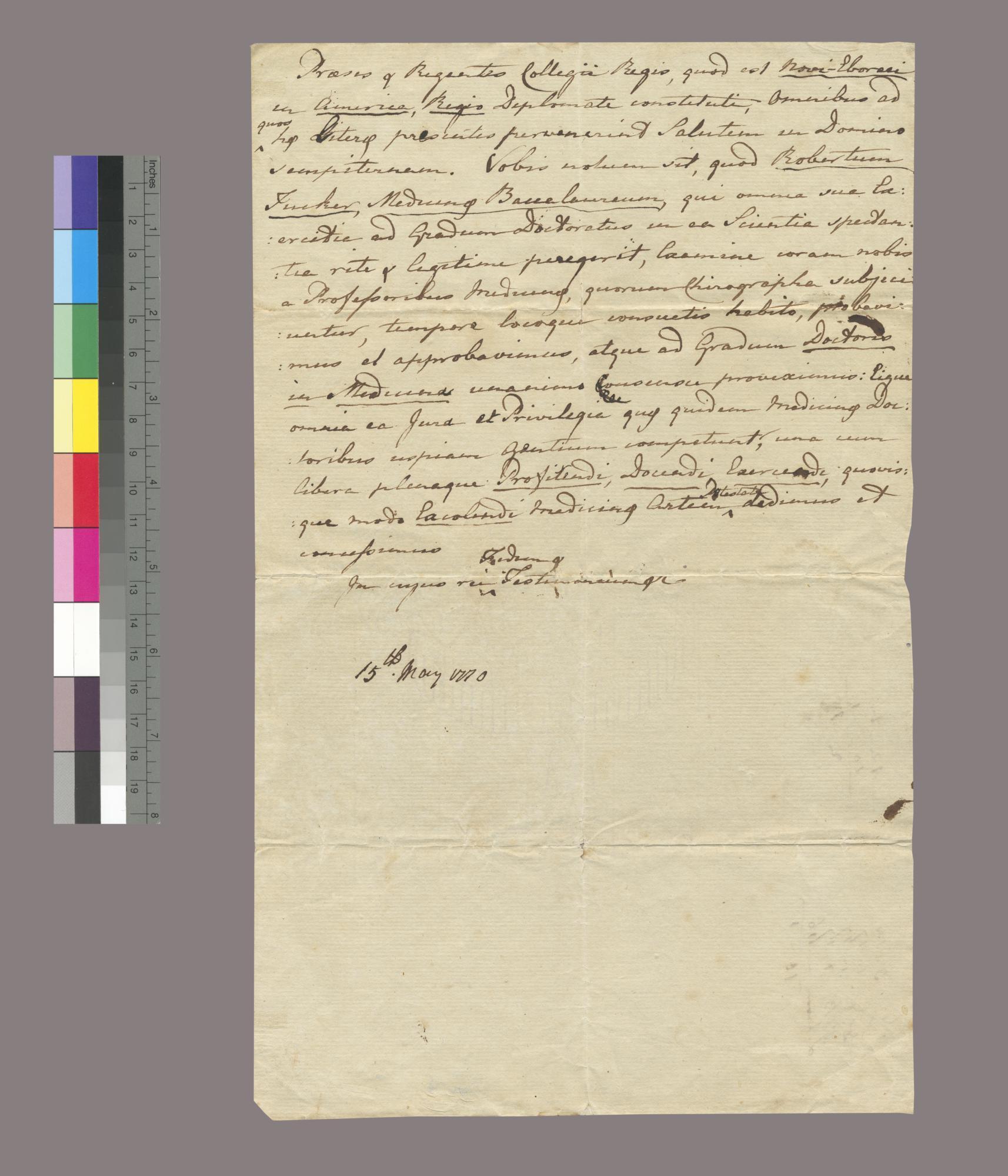 Draft of medical diploma of Robert Tucker