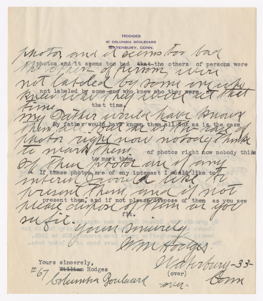 Letter from William Hodges to Columbia College Librarian. Page 2