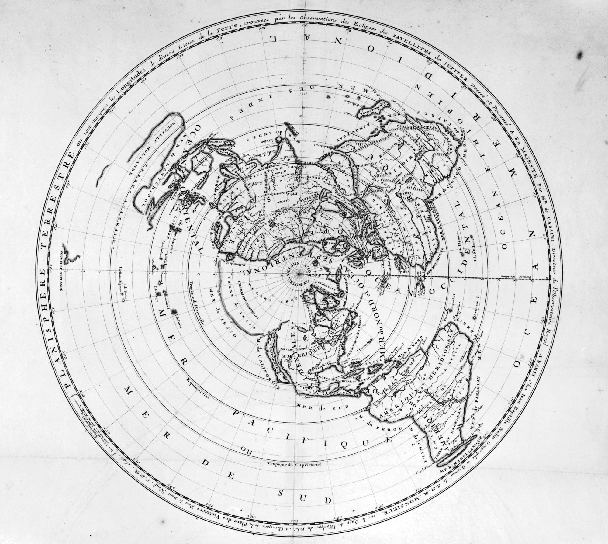 Planisphere terrestre ou sont marquees longitudes de divers lieux de la terre
