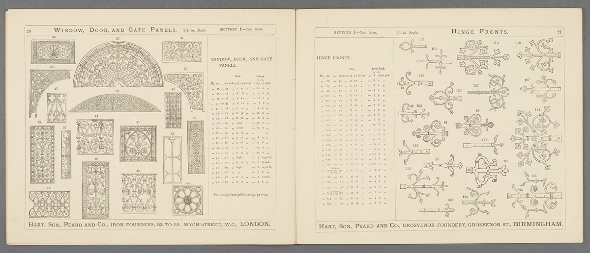 Examples of metal work for ecclesiastical and domestic use : manufactured by Hart, Son, Peard & Co. Page spread of various cast iron samples.