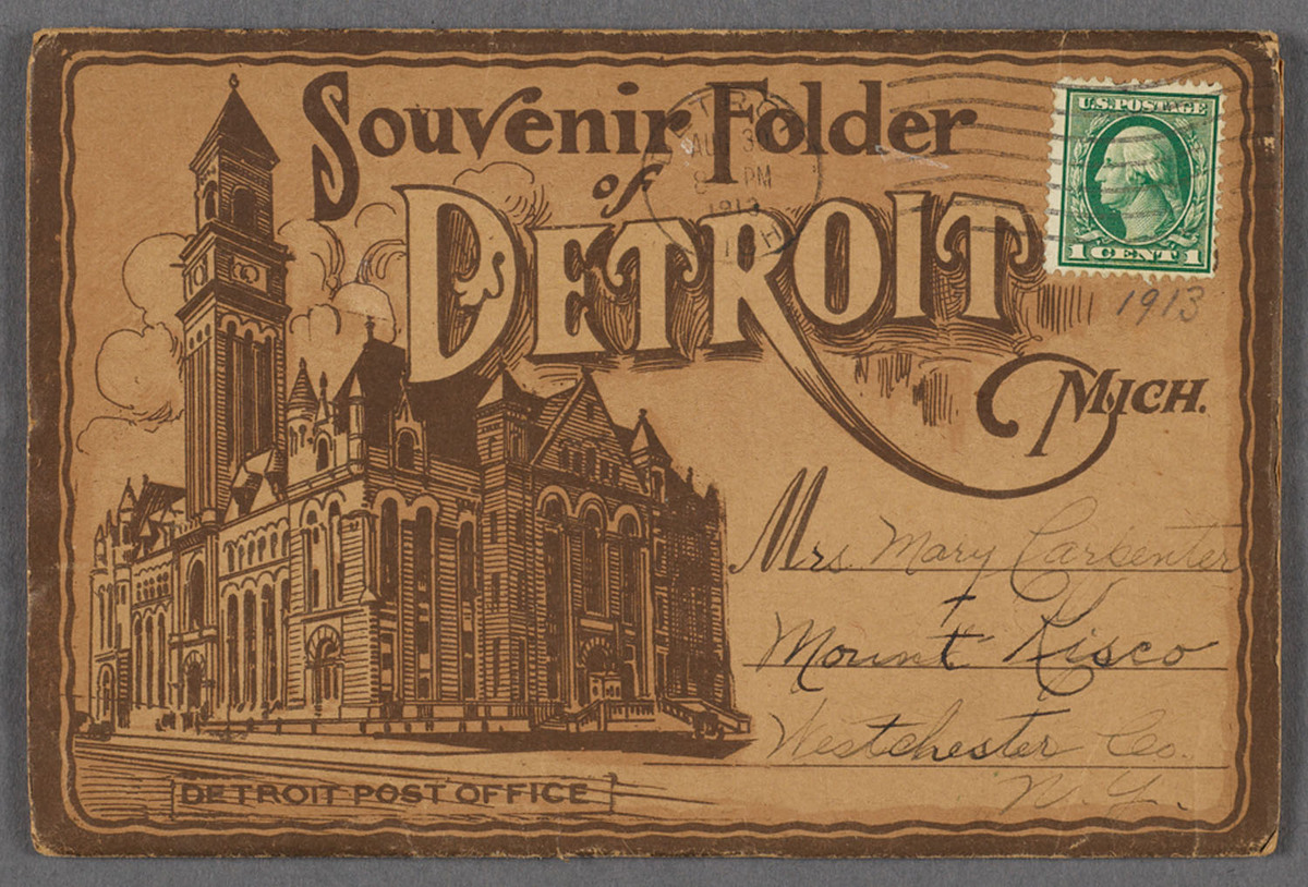 Souvenir folder of Detroit Mich.  Recto of souvenir booklet cover