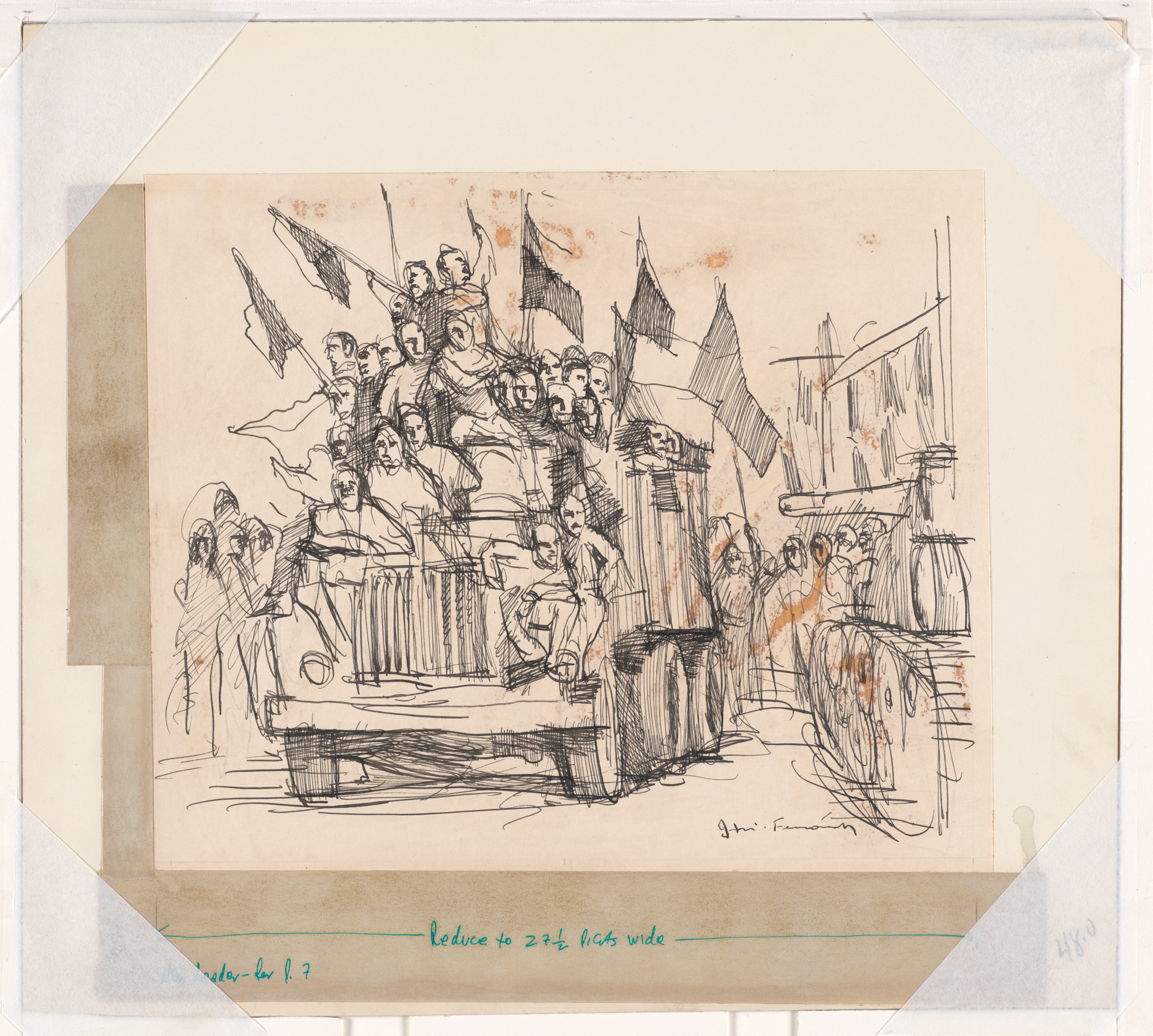 Ink Drawing of Prague 1968 Protests